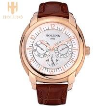 Dial grande impermeable automática digital de cuarzo reloj de los hombres vestido de deporte estilo simple caja de acero inoxidable Holuns top venta wristwatche