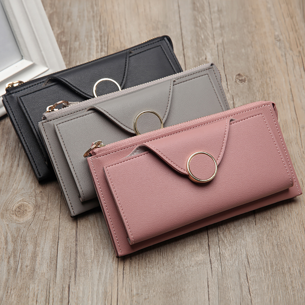 Fashion Bifold Women Long Wallet Zipper Purse With Card Holder Hand Strap Clutch Leather Wallet ladies wallet high capacity wallet
