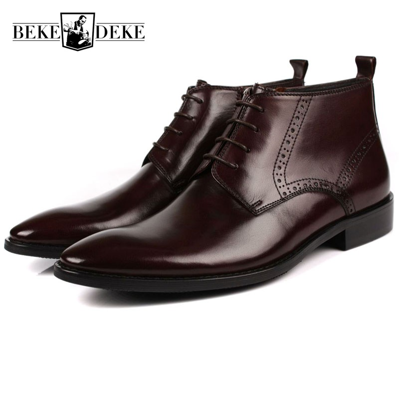 Italian Business Man Formal Ankle Boots Retro Brogue Pointed Toe Zipper Top Brand Genuine Leather Wedding Party Male Dress Shoes top brand tassel men shoes dress black italian fashion wedding male shoes 2018 new genuine leather business man formal footwear