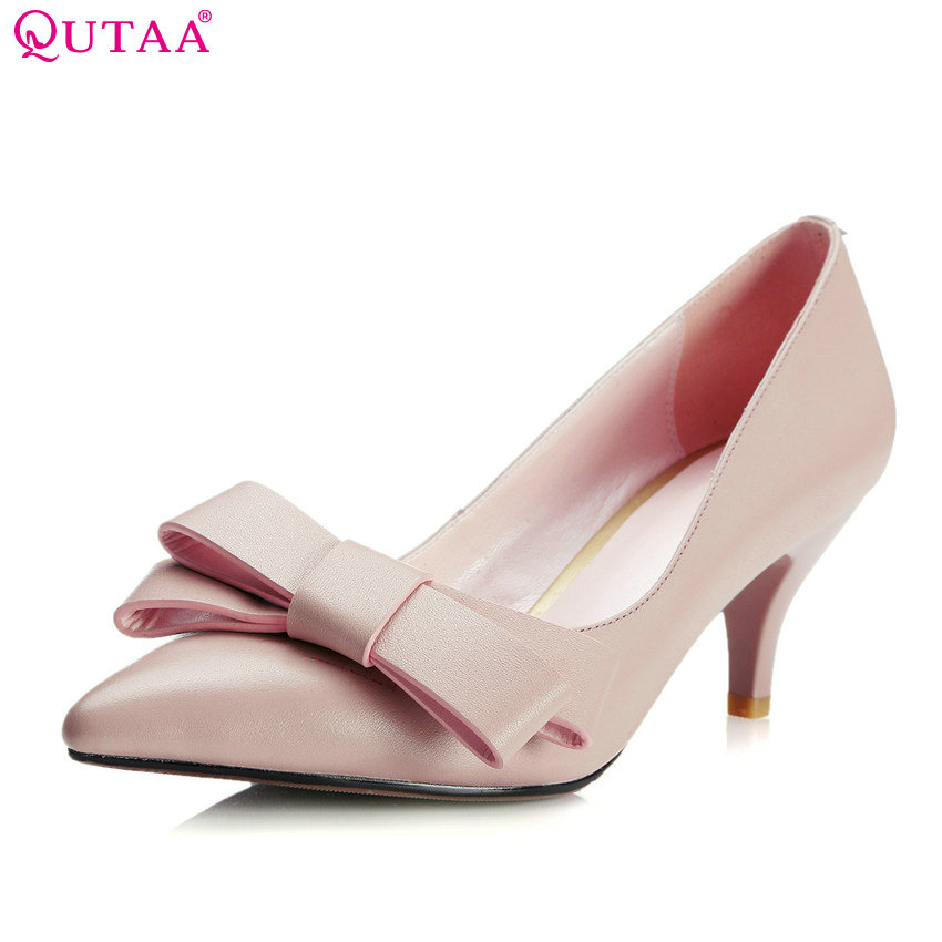 QUTAA 2018 Women Pumps Bow Tie Fashion Women Shoes Slip on Thin High Heel Pointed Toe Sweet Style Ladies Pumps Szie 34-39 slip on pointed toe office miss shoes thin high heel genuine leather bow tie spring autumn women pumps shoes size 34 39 green