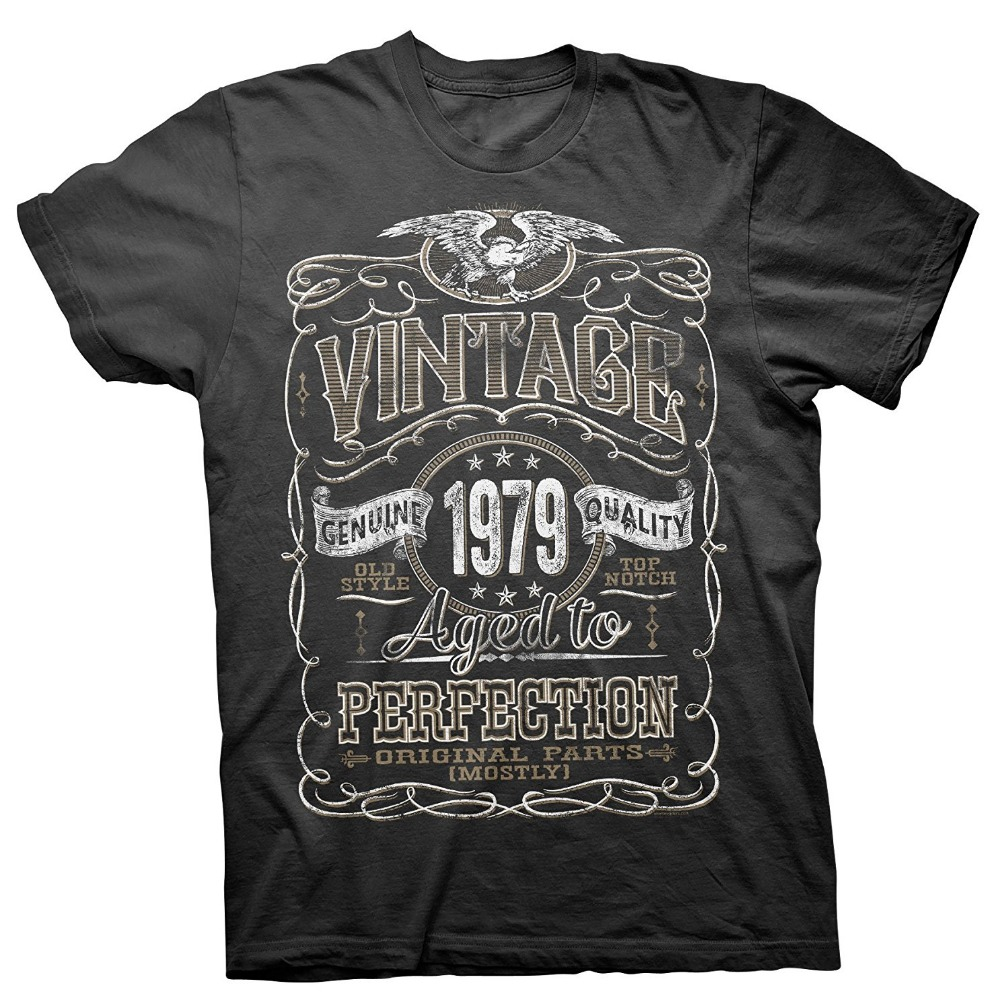 2017 Special Offer Real 8-shirts T Shirt Design Printing Short Sleeve Men Machine Vintage Aged To Perfection 1979 O-neck Shirts