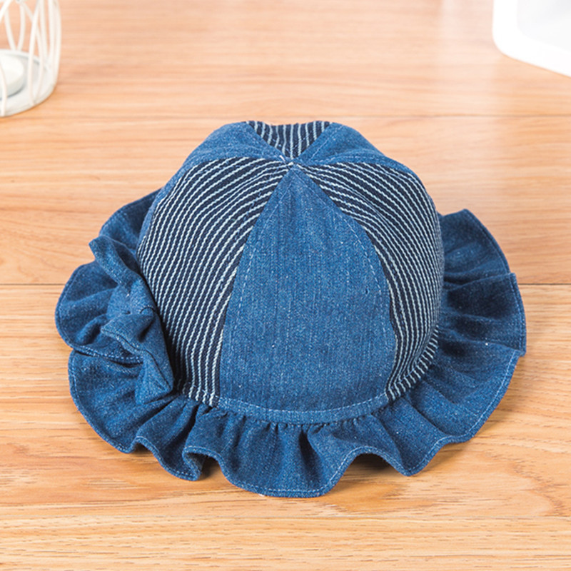 110ca56ec45 Kid Birthday Gift Girl Denim Fisherman Hat Children Bow Striped Patch  Bucket Hats 48cm 50cm 52cm-in Hats   Caps from Mother   Kids on  Aliexpress.com ...