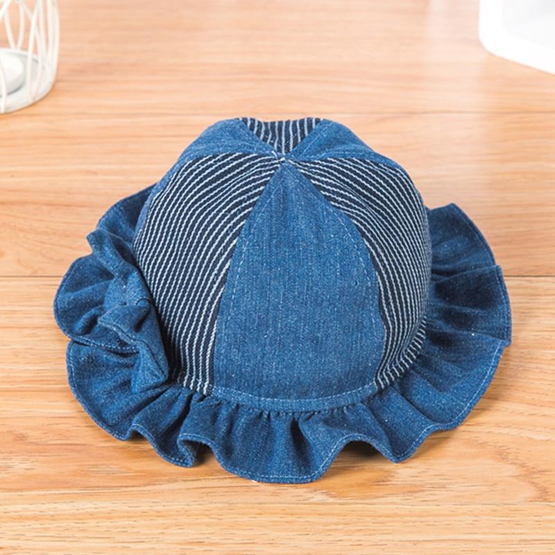 Kid Birthday Gift Girl Denim Fisherman Hat Children Bow Striped Patch Bucket Hats 48cm 50cm 52cm In Caps From Mother Kids On Aliexpress