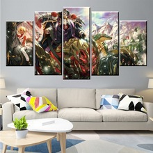 5 Panel Overlord Ainz Ooal Gown Anime Figure Canvas Painting Printed For Living Room Wall Art Decor HD Picture Artworks Poster