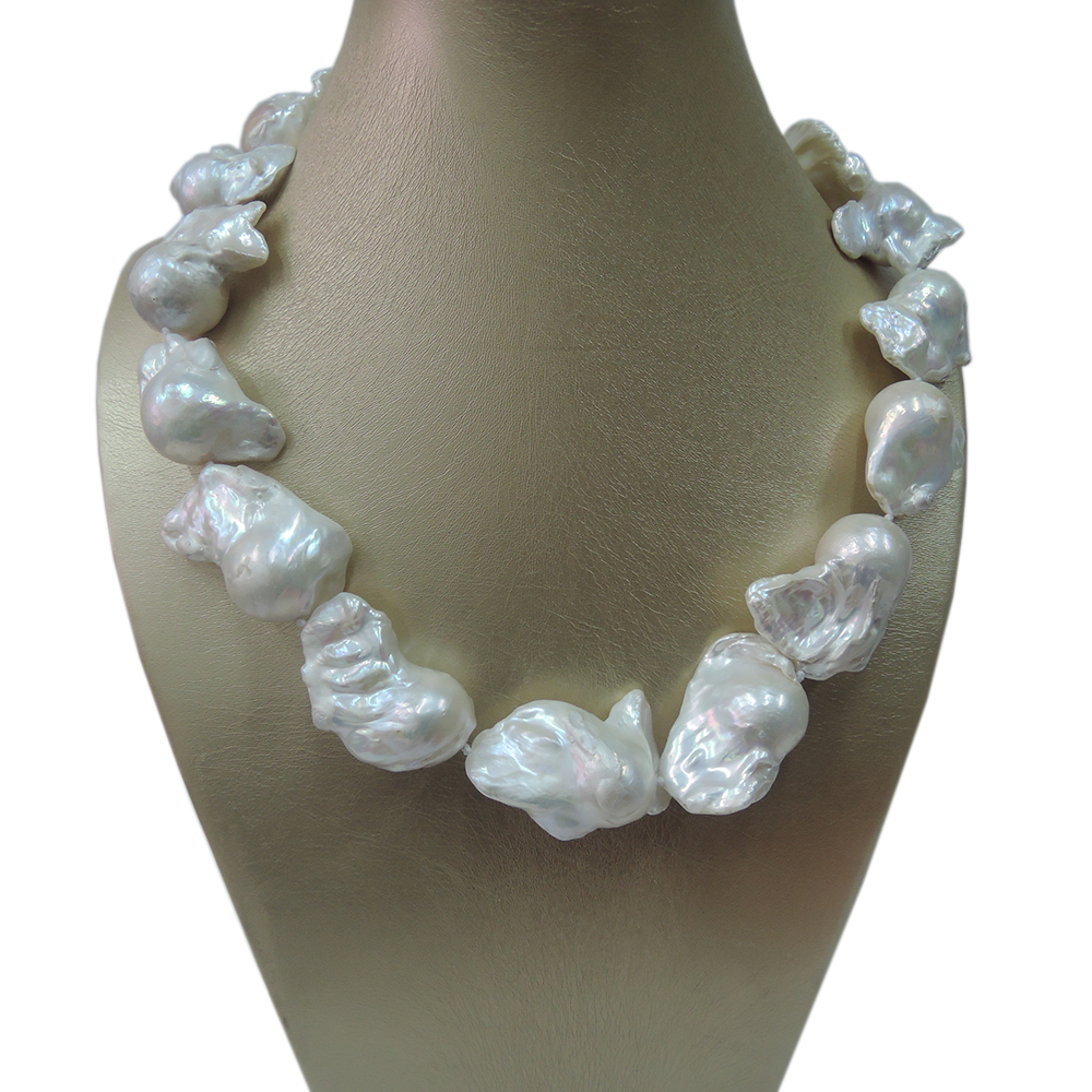 100% NATURE FRESHWATER BIG Baroque PEARL NECKLACE-good quality-16-24 mm big baroque pearl ,925 SILVER CLASP 100% freshwater baroque pearl necklace good quality 925 silver hook in gold plating