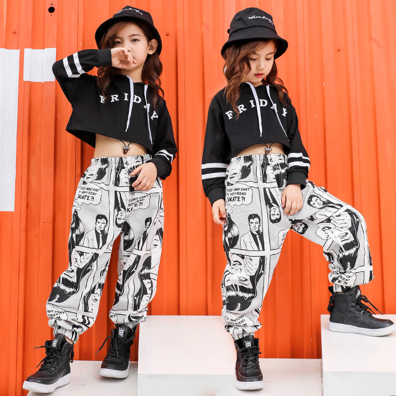 Kid Print Casual Pants Cropped Hoodie Shirt Sweatshirt Top For Girl Hip Hop Clothing Dance Clothes Ballroom Dancing Costume Wear