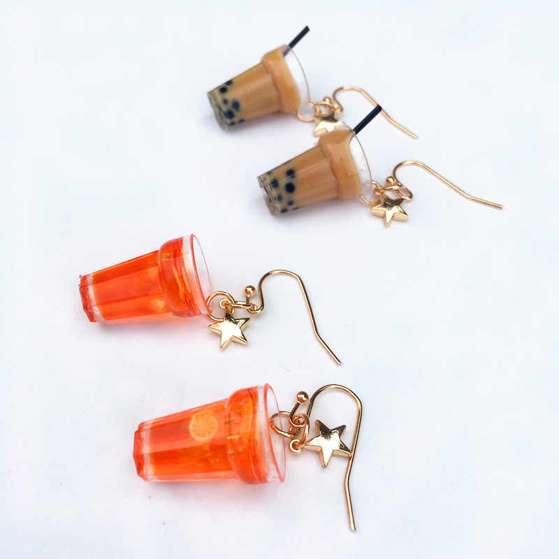 Funny Lemon ice Black Tea Pearl Milk Tea Earrings Taiwan Boba Bubble Tea Funny Dangle Earrings for Women Girl Children Jewelry