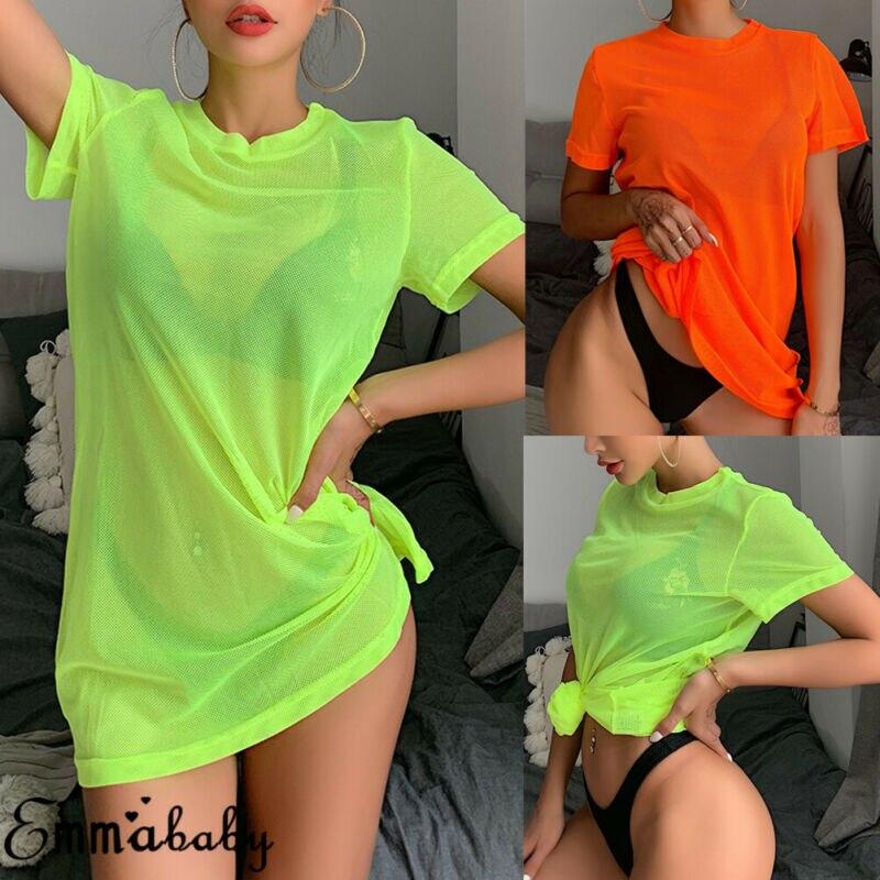 Solid Color Casual Loose Tees Women Neon Green O Neck Vintage Mesh Short Sleeve Tee Shirt Summer Top Long Tshirts Beachwear