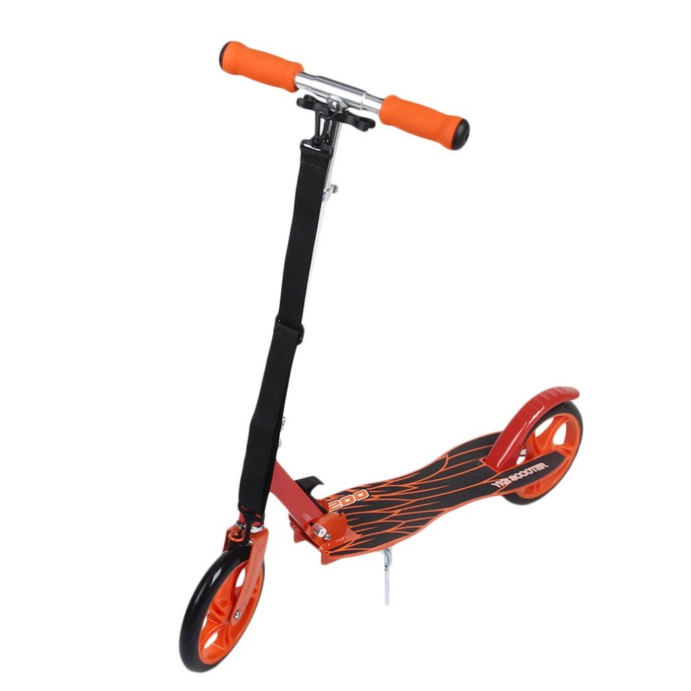 New Adult Youngsters Aluminum Alloy Folding Height Adjustable Foot Scooter Two Rounds Outdoor Double Damping Push Kick Scooter цена 2017