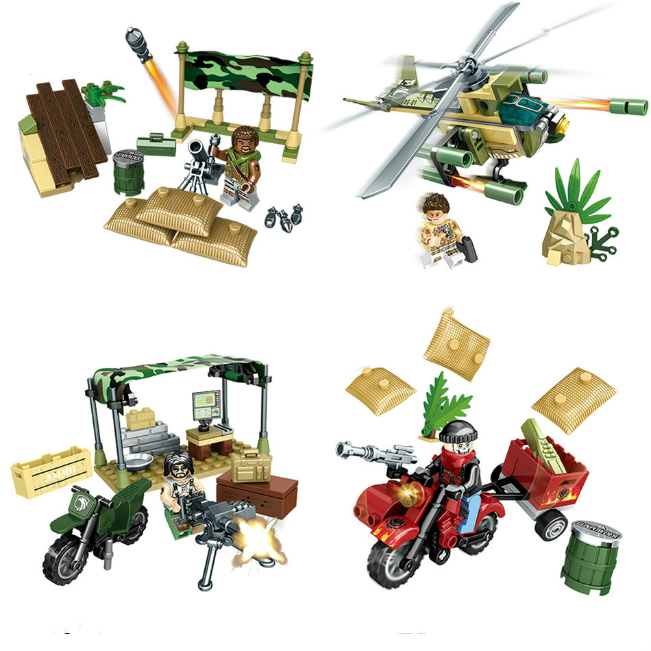 NEW 4 Styles Army Soldiers Military Helicopters Building Block Set LEPINS & Enlighten Toys for Children DIY Bricks FIGURES Toy