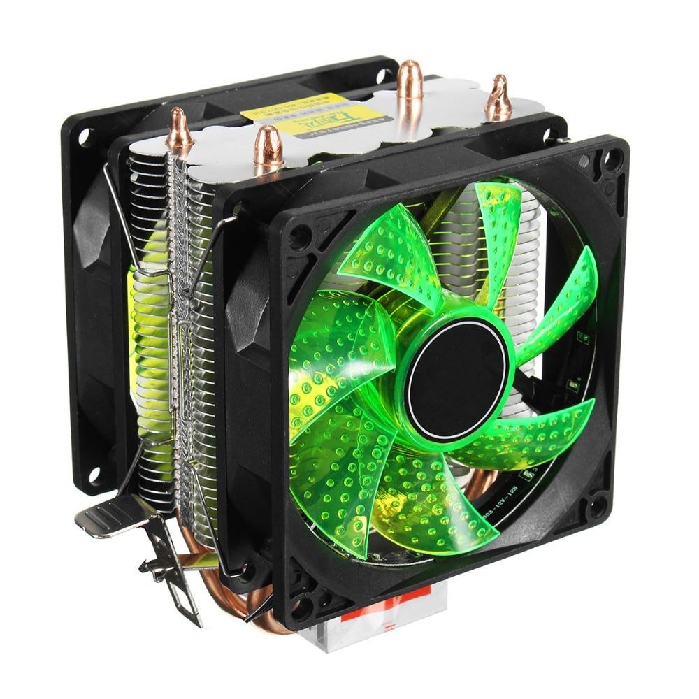 LED 2 Heat Pipe Quiet CPU Cooler Heatsink Dual Fan For LGA 1155 775 1156 AMD 12V Dual CPU Cooler Quiet Powerful Fan For AMD for asus u46e heatsink cooling fan cooler