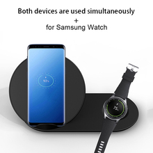 Купить с кэшбэком Quick QI Wireless Charger for iPhone X 8 Plus Xiaomi Samsung Gear S2 S3 S4 Note 9 S9 S8 Smart Watch Fast Wireless Charging Pad