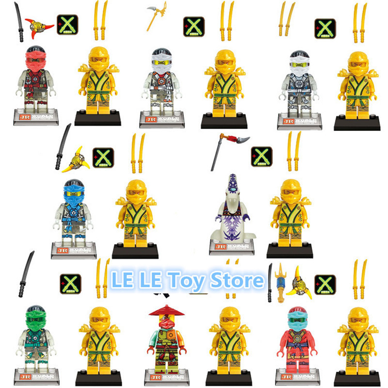 8PCS/LOT JR783 Cole Jay Kai Lloyd Nya Zane Golden Ninja Sets Star Wars Model Bricks  Toy building blocks ninjago mini figures kai jay cole zane nya lloyd nada toys for children ninjago legoing ninja movie star wars