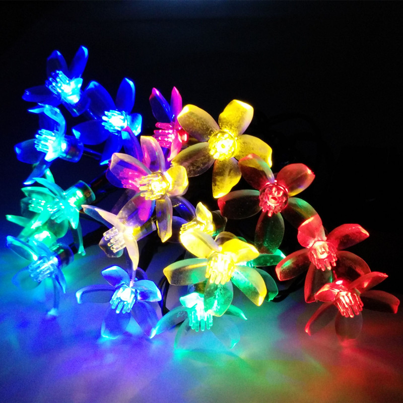YIYANG Solar Floral vedhæng LED Garland strengelys dekoration jul udendørs have lys Luces Cereza Cherry Solare 4.8M
