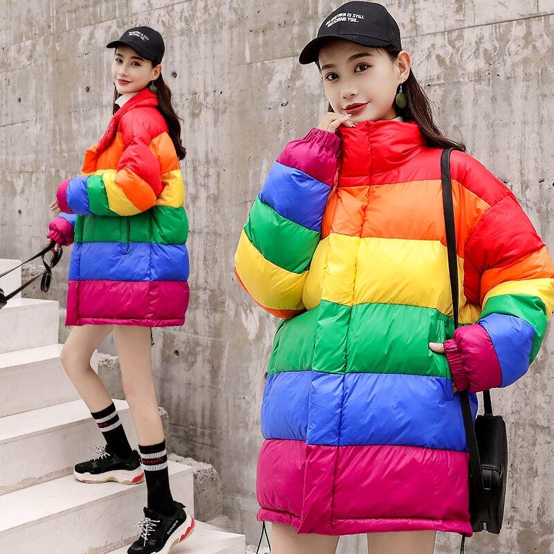 D'hiver Outwear Ciel Arc Manteau Abrigos Couleur Veste Lumineux Femmes En Invierno Mujer Parkas Coton Sucrerie Longue De Multi 2018 xqHwg0H