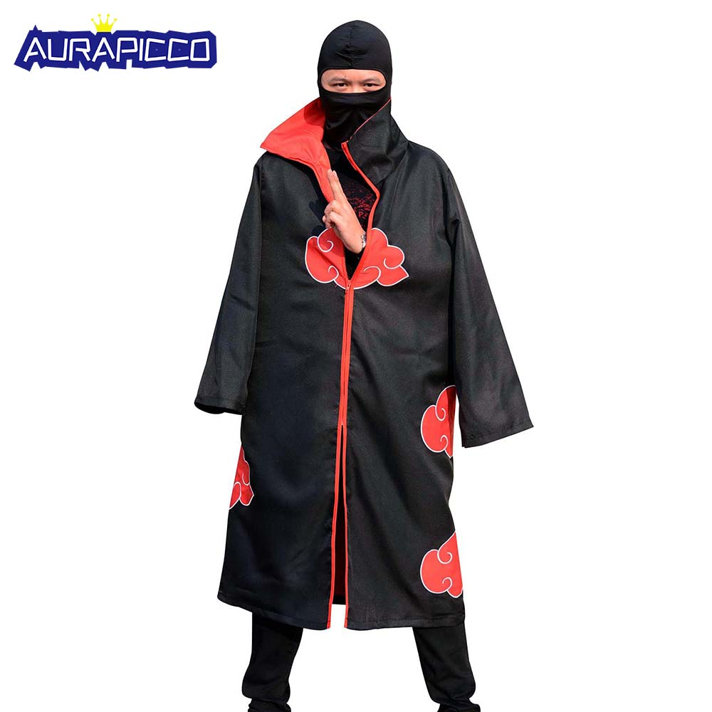 Akatsuki Cosplay Costume Uniform Naruto High Collar Cloud Cloak Black Long Robe Outerwear Japanese Ninja Halloween Costumes