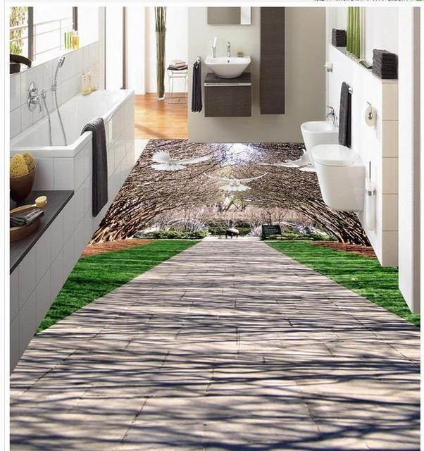 3d Boden Aufkleber 3d Stereoskopische Tapete Boden Wald Strasse