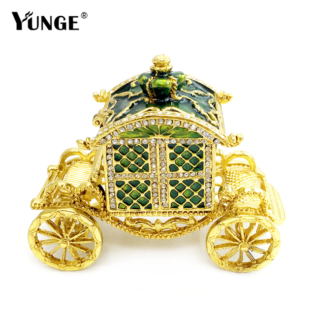 Gold carriage trinket box wedding jewerly ring box bejeweled