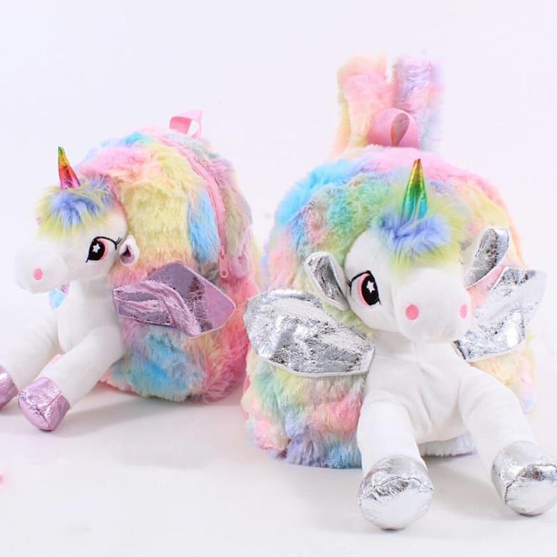 Baby Girl Unicorn Fur Backpack Cute Children Zipper Schoolbag Mini Kid Toy Doll Backpack For Kidergarten New Plush Bag