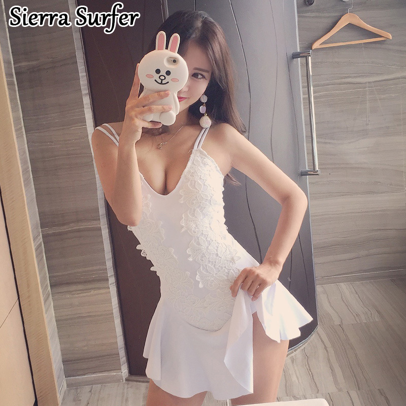 Ladies Bathing Suit Swim Wear Sexy Plus Size Bikinis Woman Push Up Swimwear One Piece Swimsuit 2018 Korea New Skirt Underwire