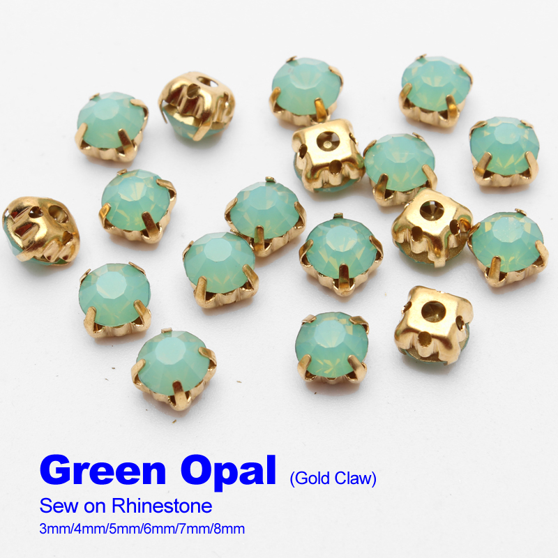 Sew on Rhinestones Green Opal Gold claw 4mm/5mm/6mm/7mm/8mm use for DIY accessories free shipping