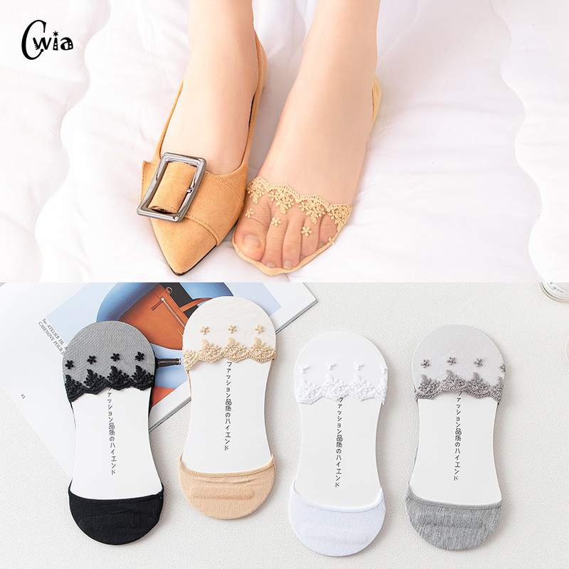 Summer Women Girl Silica Gel Lace Boat Socks Invisible Cotton Sole Non-slip Antiskid Slippers Anti-Slip Sock 1pair=2pcs Ws193