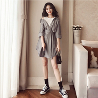 Large Size Patchwork Vestidos Spring Striped Women S Dresses Batwing Sleeve Sashes Dress Female Sweet Vacation