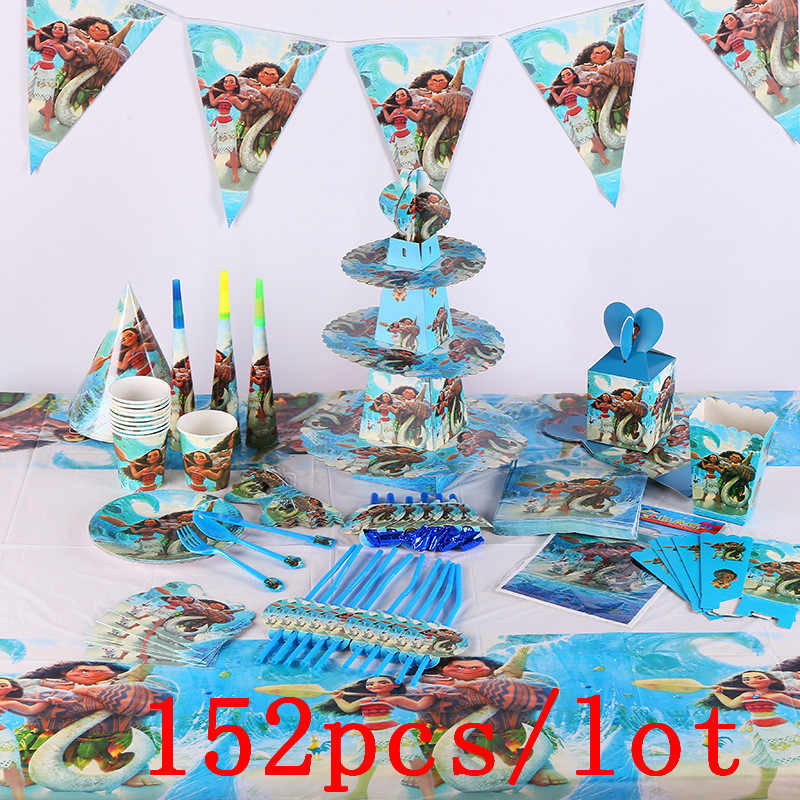 152 ชิ้น/ล็อต Moana Maui Disposable Tableware ชุดเด็กวันเด็กตกแต่งงานเลี้ยงวันเกิดอุปกรณ์ต่างๆ Maker