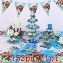 152 stks/partij Moana Maui Wegwerp Servies Sets kinderen Dag Kids Birthday Decoratie Event Levert Diverse Maker(China)