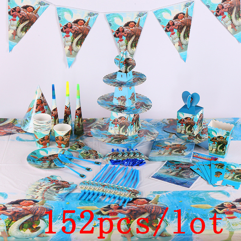 152Pcs/Lot Moana Maui Disposable Tableware Sets Children's Day Kids Birthday Decoration Event Supplies Various Maker