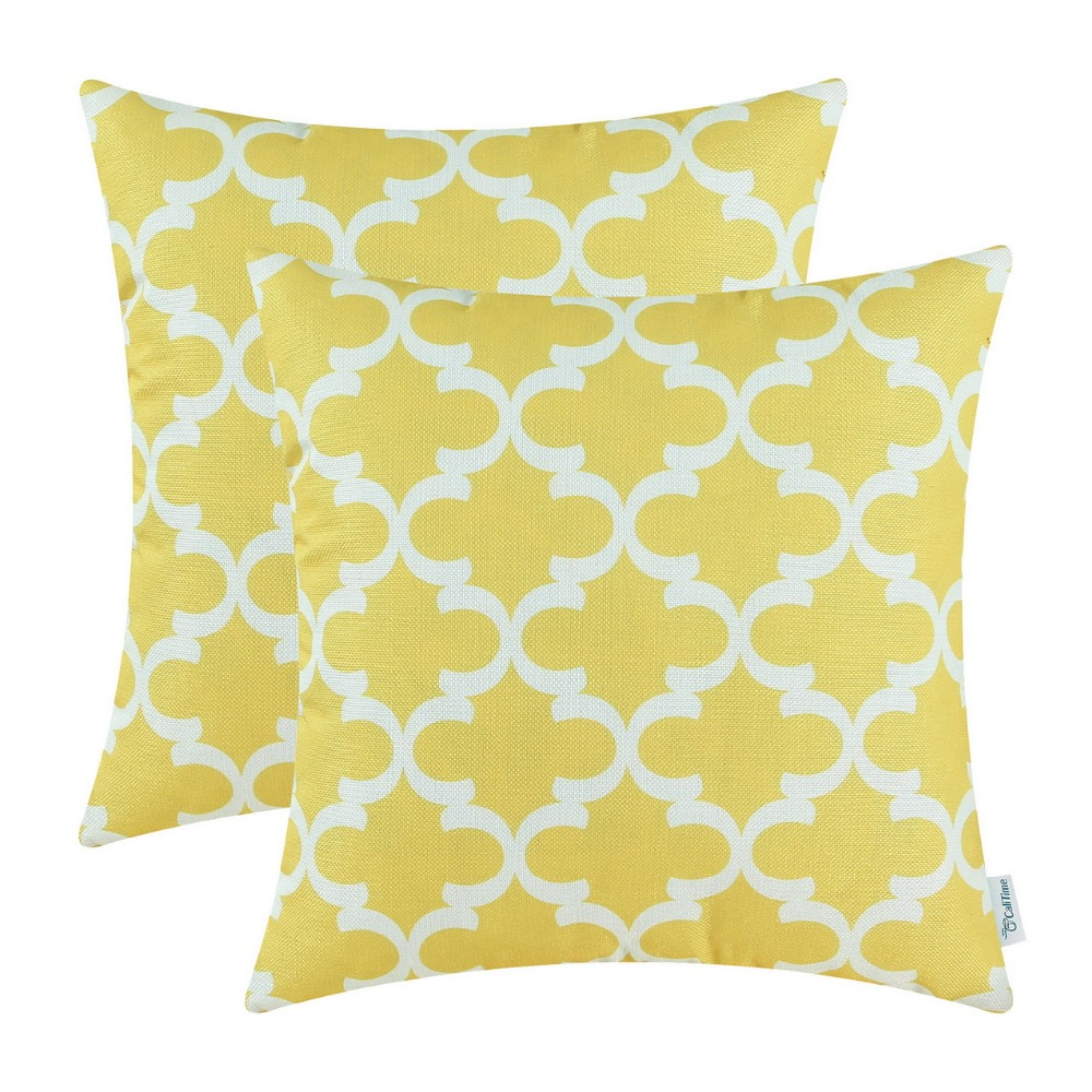 2PCS Square CaliTime Cushion Cover Pillows Shell Quatrefoil Accent Geometric Home Sofa Decor 20 X 20(50cm X 50cm) Yellow