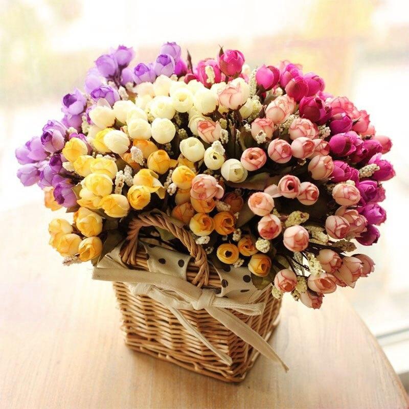 15 Cabezas/Flores Artificiales Ramo Pequeño Brote Bráctea Simulación Flores de S