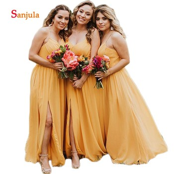 Spaghetti Straps A-Line Chiffon Bridesmaid Dresses Leg Slit Sexy Candy Color Maid of Honor Dresses brautjungfernkleid D397