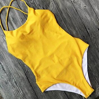 Sexy One Piece Swimsuit Black Monokini Backless Trikini Swimwear Women Bikinis Thong Triquini Female Bandage Bathing Suits 9