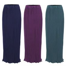 Maxi Muslim Women pleated skirts  fashion elegant daily wearing with falbala  Half Long ankle skirts SK9017