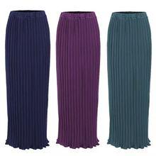Maxi femmes musulmanes jupes plissées mode élégant porter quotidien avec falbala demi longues jupes à la cheville SK9017