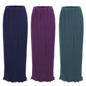 Image 1 - Maxi femmes musulmanes jupes plissées mode élégant porter quotidien avec falbala demi longues jupes à la cheville SK9017