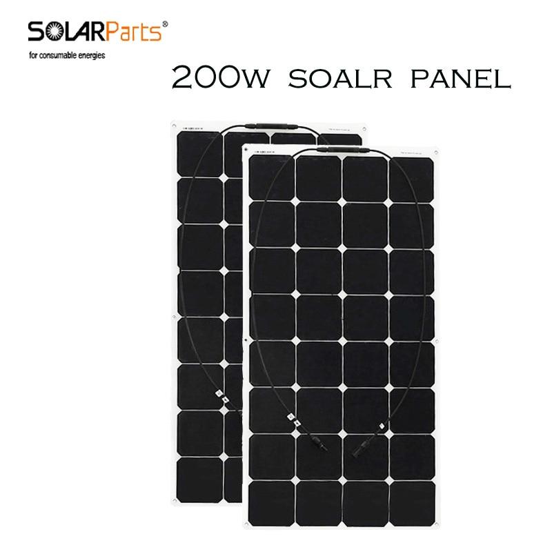 Prix pour Solarparts 2 pcs 100 wmarine pv flexible panneau solaire utilisation sunpower cellules pour en plein air, de pêche, voyage, camping 12 V chargeur batterie