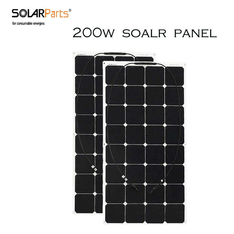 Solarparts 2PCS 100W Marine pv flexible solar panel use sunpower cells for outdoor fishing travel camping