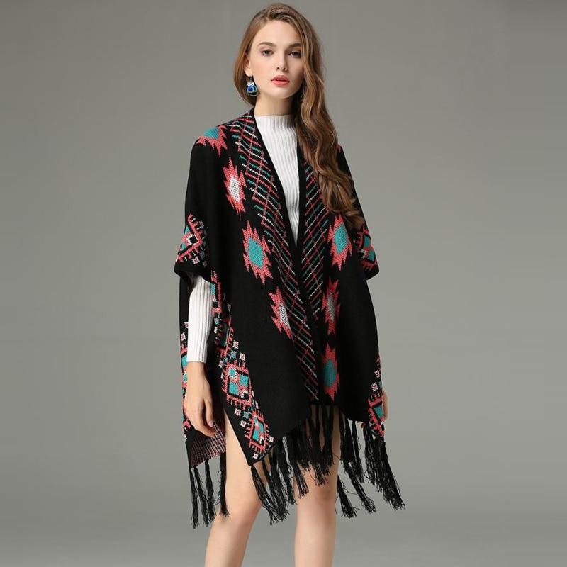 Jacquard Black Sleeve Overcoat Print Coat Long Cloak Women Trench Female Sweater Elegant Geometric white Kimono Cardigans Autumn fOw0xqZp