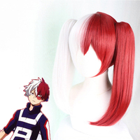 Anime My Hero Academia Cosplay Wig Todoroki Shoto Cosplay Wig Synthetic wig Women Girls Bunches Ponytail Female Version Hair