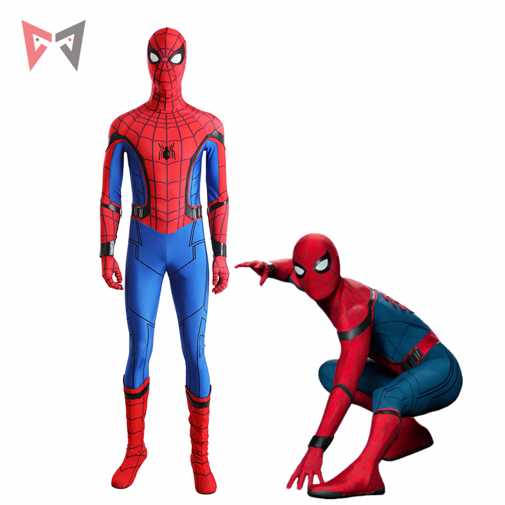 Spiderman Homecoming Cosplay Costume Superhero Bodysuit high quality jumpsuit and boots for Halloween custom made