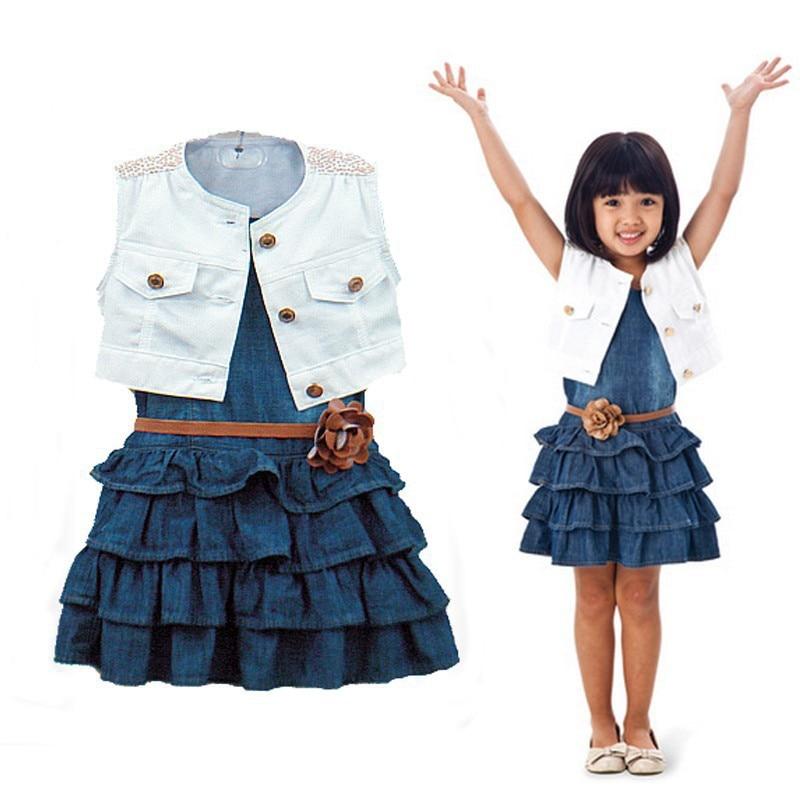 2pcs Baby Girl Toddler Infant Sleeveless Vest Top Shawl Denim Dress Flower Belt Girls Outfit Dresses Vestido Kids Bebe Clothes