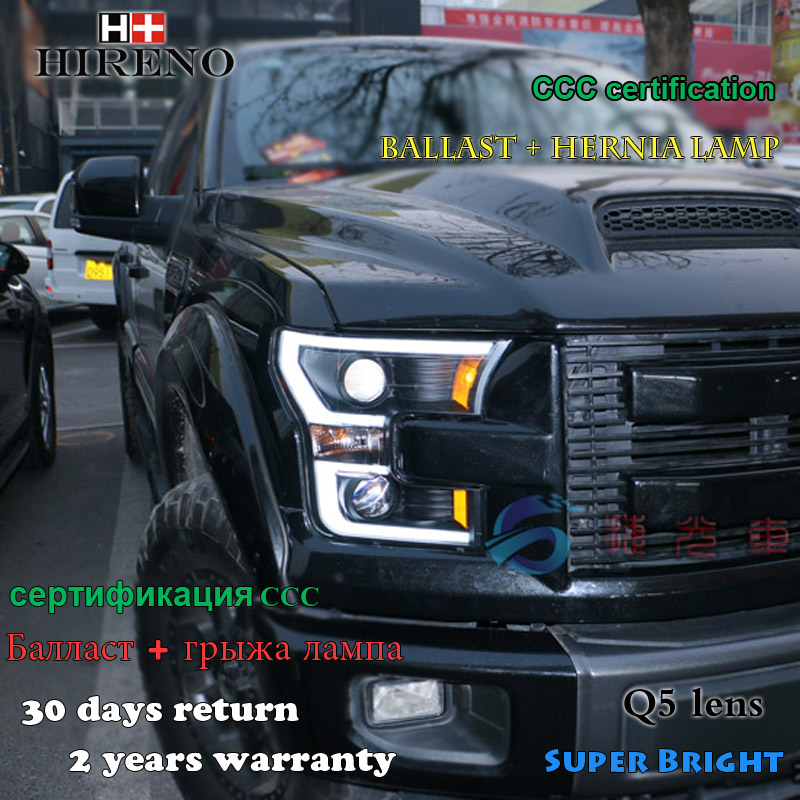 Hireno Car styling Headlamp for 2015-2016 Ford Raptor F150 Headlight Assembly LED DRL Angel Lens Double Beam HID Xenon 2pcs