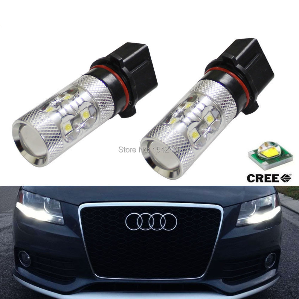 2x No Errors Xenon White 50W P13W C REE LED Bulbs DRL For 2008-12 Audi B8 model A4 or S4 with halogen headlight trims 2x no errors xenon white 50w p13w c ree led bulbs drl for 2008 12 audi b8 model a4 or s4 with halogen headlight trims
