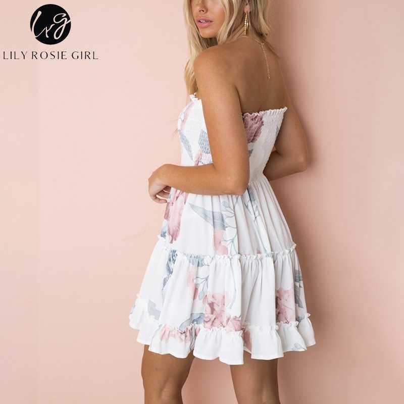 زنبق روزي فتاة حمالة الحلو عطلة بوهو فساتين أنيقة الكشكشة طباعة فستان زهري أبيض شاطئ فستان صيفي Vestido