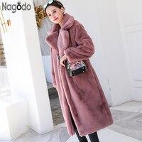 Nagodo Faux Rabbit Fur Coat 2018 Winter Pink Long Fur Coat Women Loose OverCoat Luxury Thicken Warm Oversize Female Plush Coat