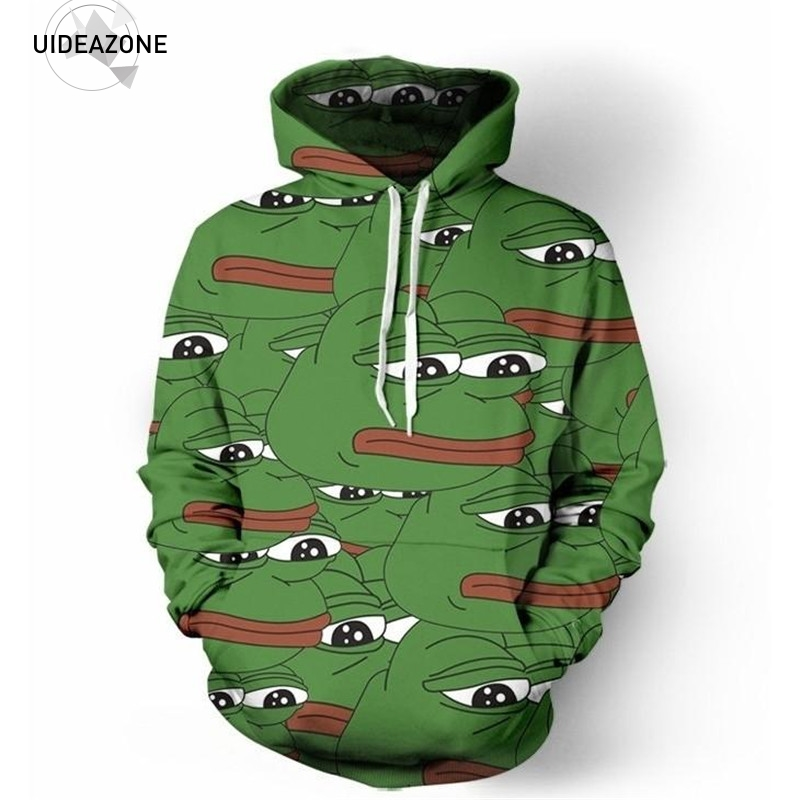 Pepe 3D Hoodies Men Women 2017 New Fashion Hip Hop Hoody Tops Ropa Deportiva Hombre Casual Brand Hooded Sweatshirt Dropship