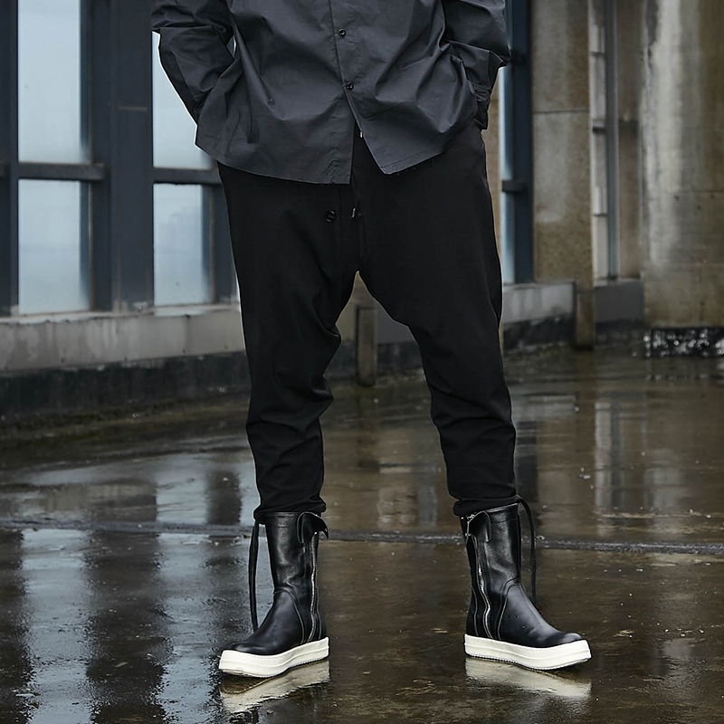 Jogger Sweatpants Gothic Trousers Men Harem Streetwear Loose Punk Black Japan-Style Male
