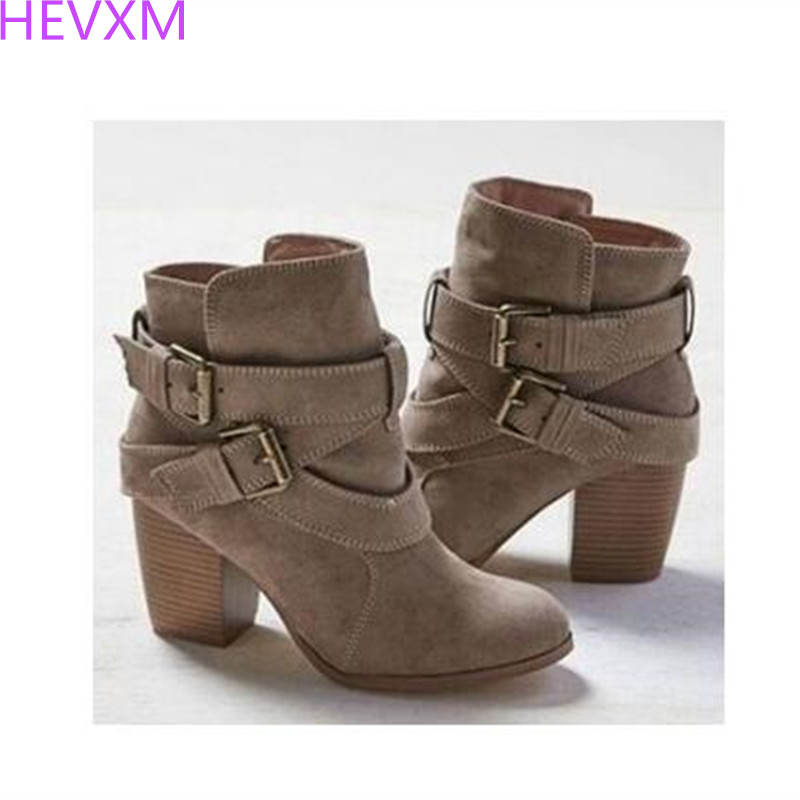 HEVXM 2017 NEW Autumn Winter Women Boots Casual Ladies shoes Martin boots Suede Leather ankle boots High heeled zipper Snow boot